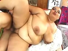 Horny BBW angel takes up huge hummer