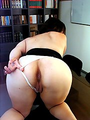 Huge naughty lady in the library