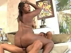 Chubby black milf gets cum on boobs