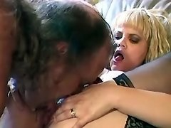 Megabusty chick enjoys oral on sofa