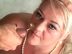 Chubby mature with giant melons gets facial