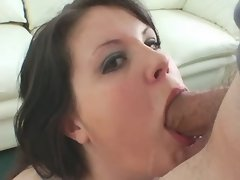 Depraved plump girl throats cock