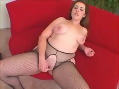 Chubby fatty honey plays with dildo