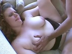 Innocent fat slut fucking on sofa