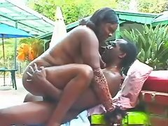 Chubby ebony fucks hard with friend