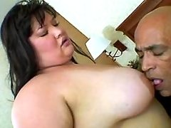 Chubby asian babe gets cum on tits