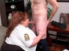 Busty milf takes care of erect dick