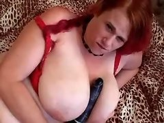 Redhead fatty dildofuck all holes