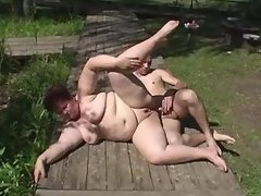 Lusty fat mature gets cum on face