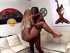 Horny black bitch gets cum in mouth